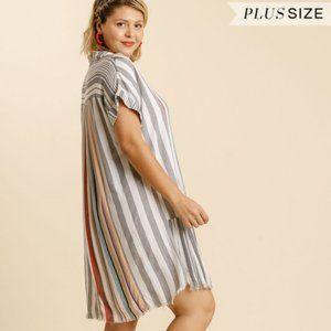 Umgee Plus Black Red Stripe Button Fray Hem Dress